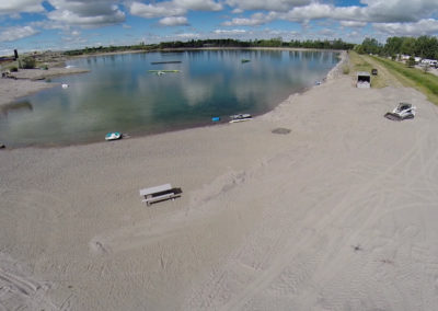 Aerial view of the beach at Wakeside Lake RV Park