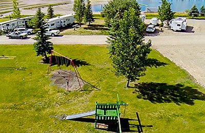 Aerial view of playground at Wakeside Lake RV Park
