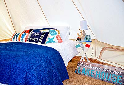 Interior of a glamping yurt at Wakeside Lake RV Park